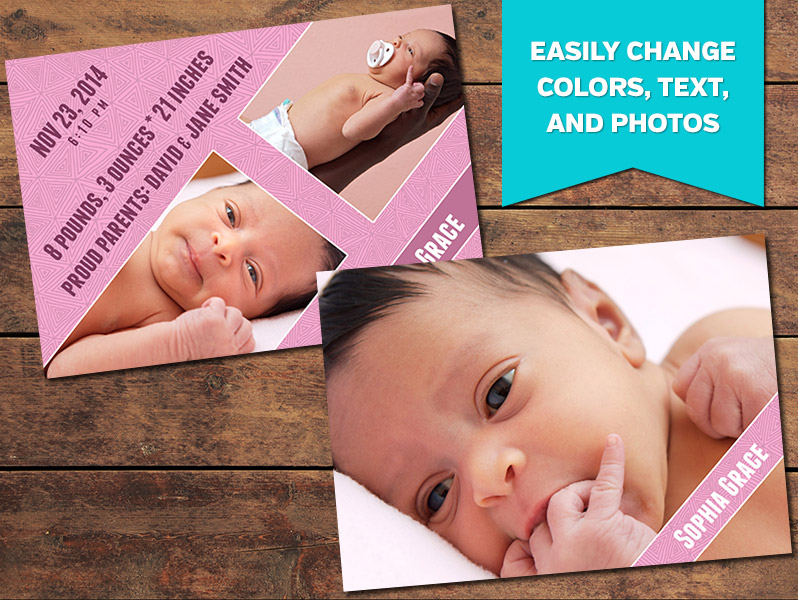 Angled Birth Announcement Card Template