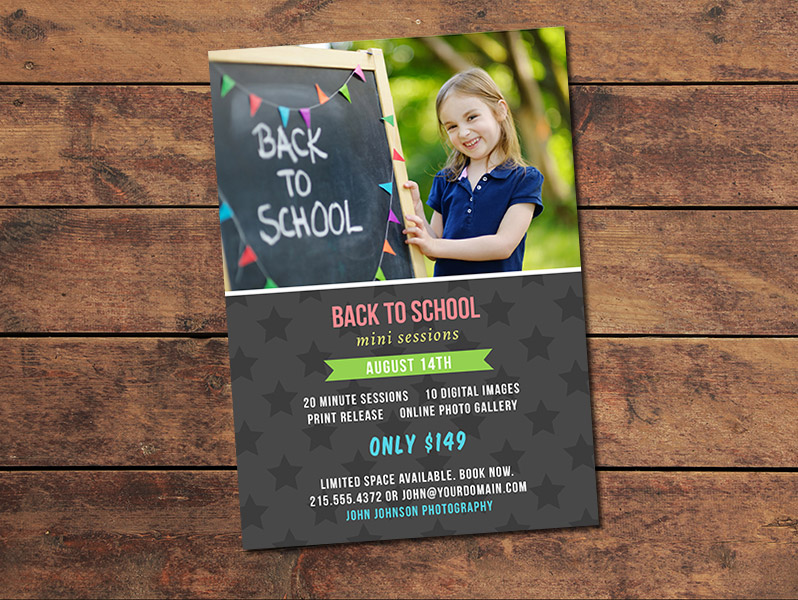 Back to School Mini Session Card Template