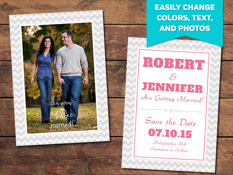 Chevron Save-the-Date Card Template
