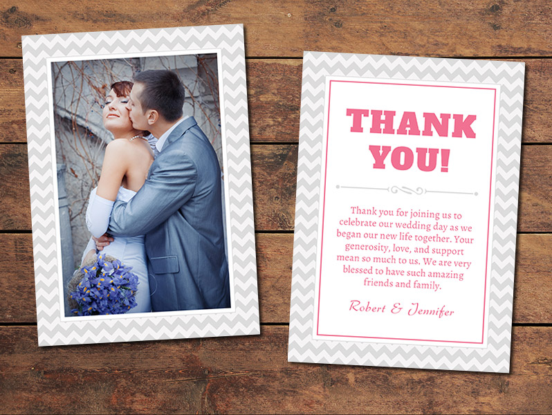 Chevron Wedding Thank You Card Template