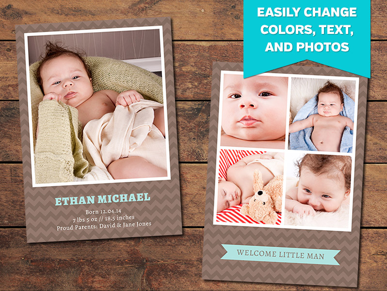 Baby Announcement Template | Birth Announcements Print Templates Chocolate Birth Announcement