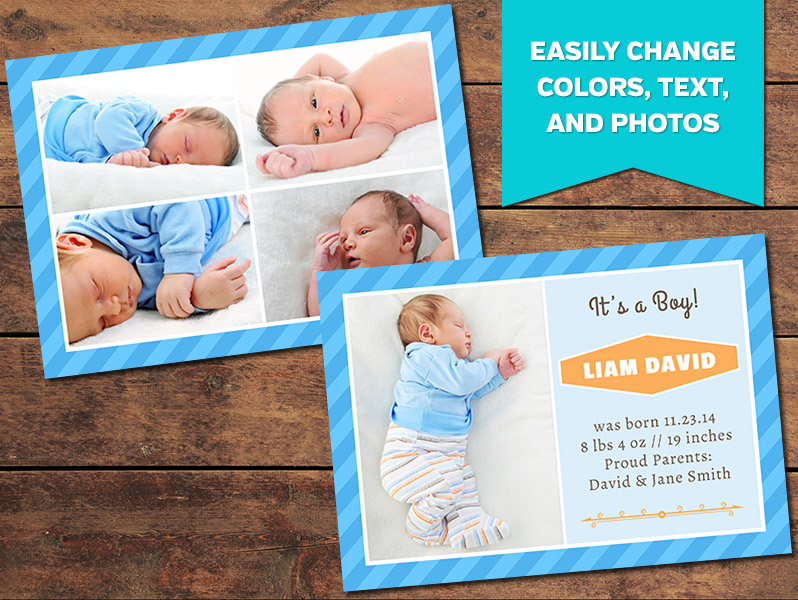 Collage Birth Announcement Card Template