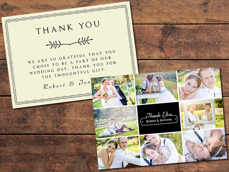 Collage Wedding Thank You Card Template