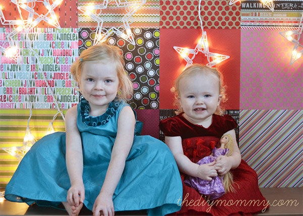 Christmas Backdrop with Scrapbook Paper