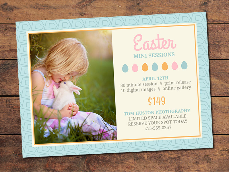 photoshoot gift certificate template - marketing materials mini session cards easter mini