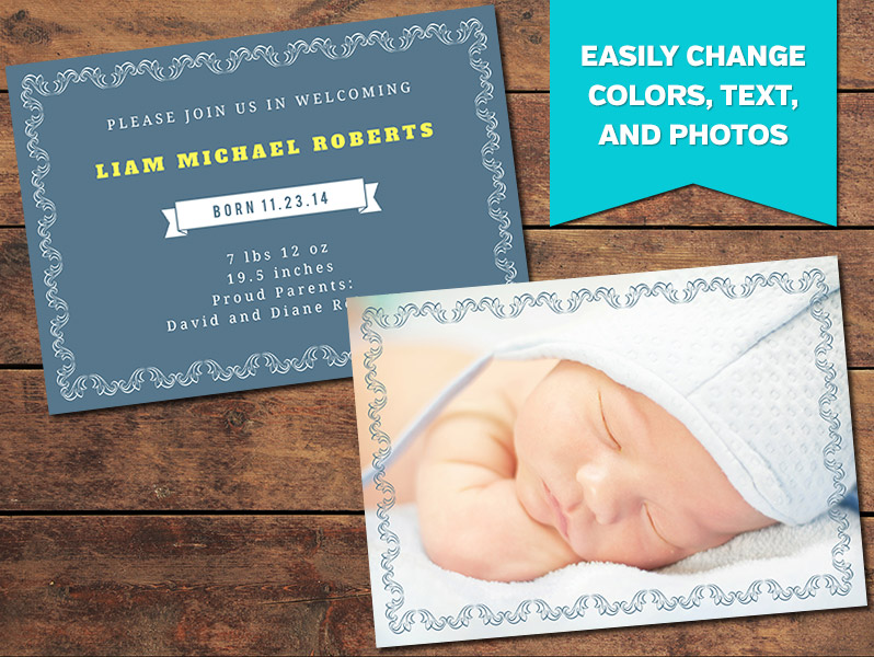 Elegant Birth Announcement Template PhotographyPlanet – Elegant Birth Announcements