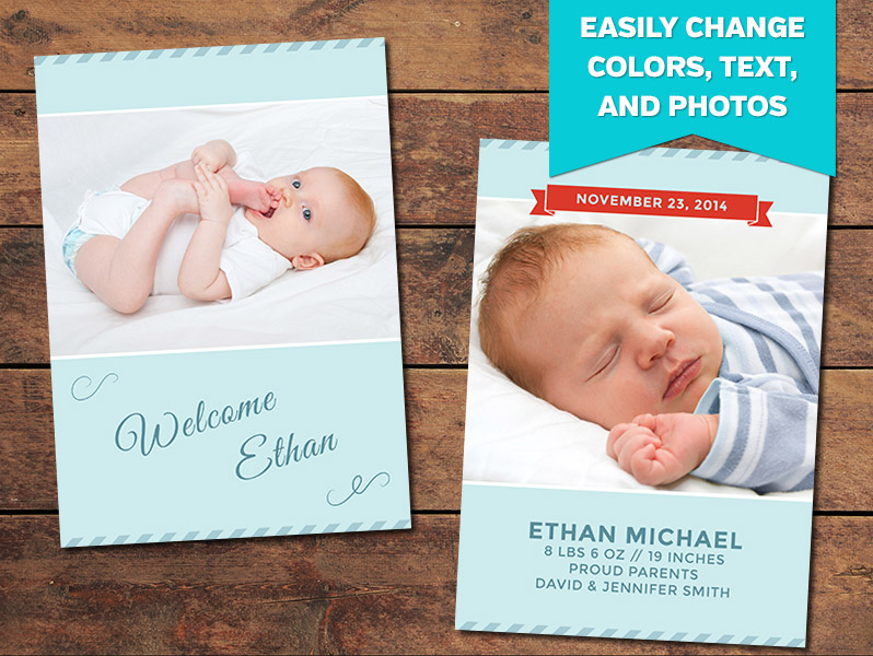 Glee Birth Announcement Card Template