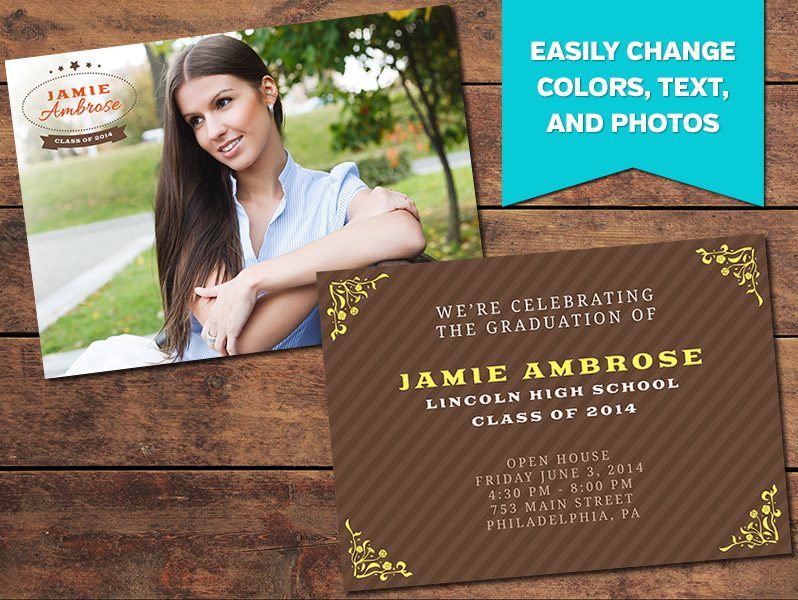 graduation announcements print templates achieve graduation