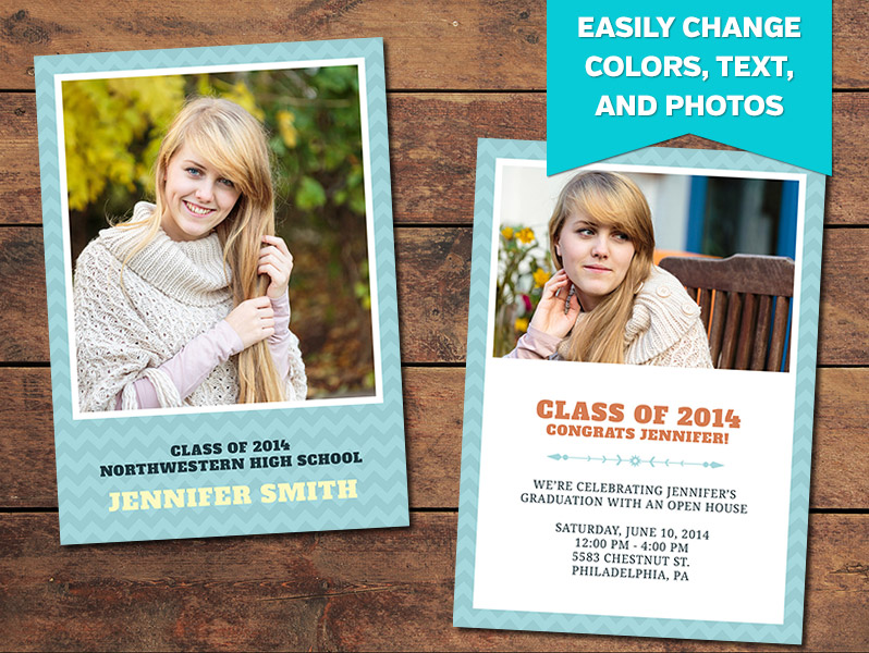Chevron Graduation Announcement Card Template - 5 x 7