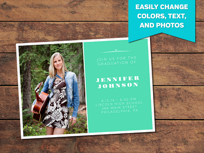 Graduation Announcements, Print Templates | Clean Graduation ...