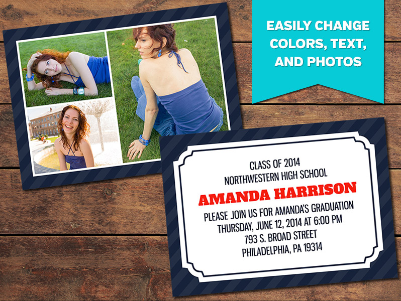 Collage Graduation Announcement Card Template - 5 x 7
