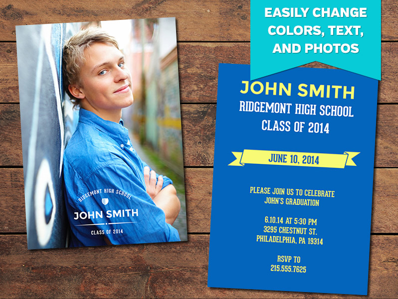 dapper graduation announcement card template 5 x 7
