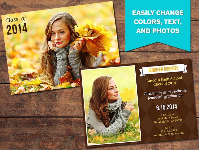earthy graduation announcement card template 5 x 7