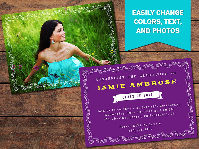 Elegant Graduation Announcement Card Template