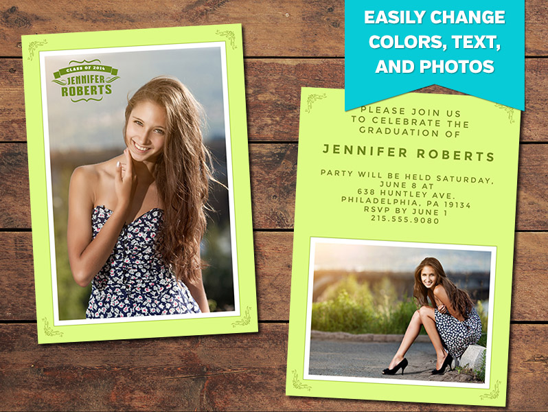 graduation announcements print templates green graduation