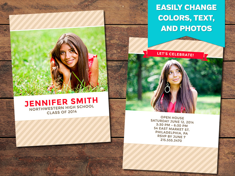 Striped Graduation Announcement Card Template - 5 x 7
