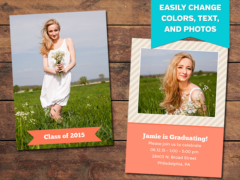 Reach Graduation Announcement Card Template