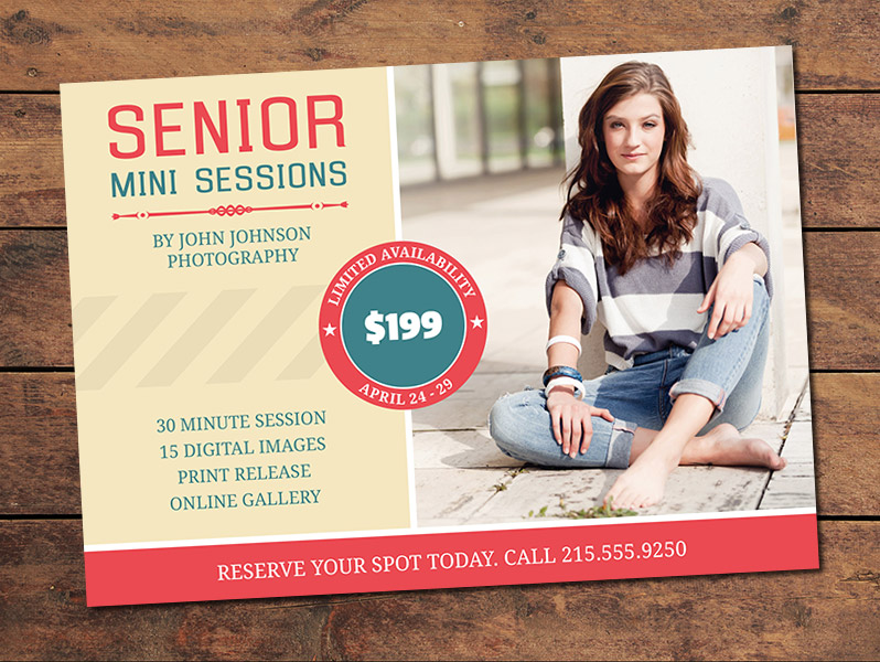 Senior Mini Session Card Template
