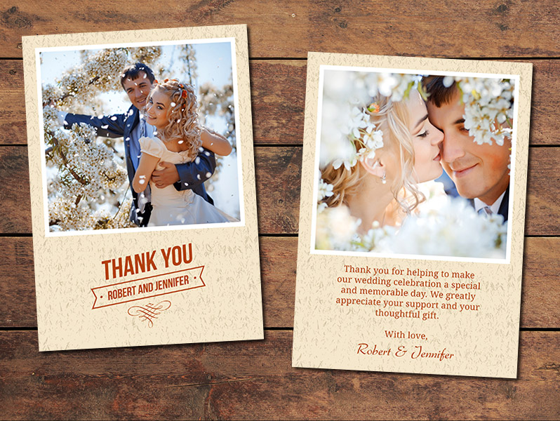 textured wedding thank you card template