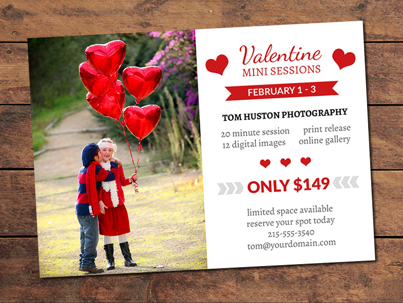 Valentines Mini Session Card Template