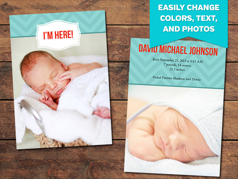Adored Birth Announcement Card Template