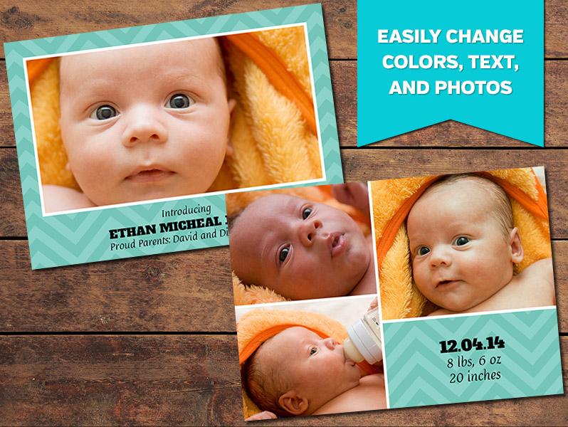 Aqua Birth Announcement Card Template