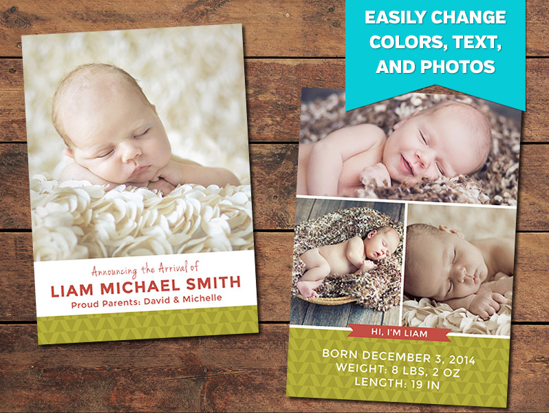 Beginnings Birth Announcement Card Template