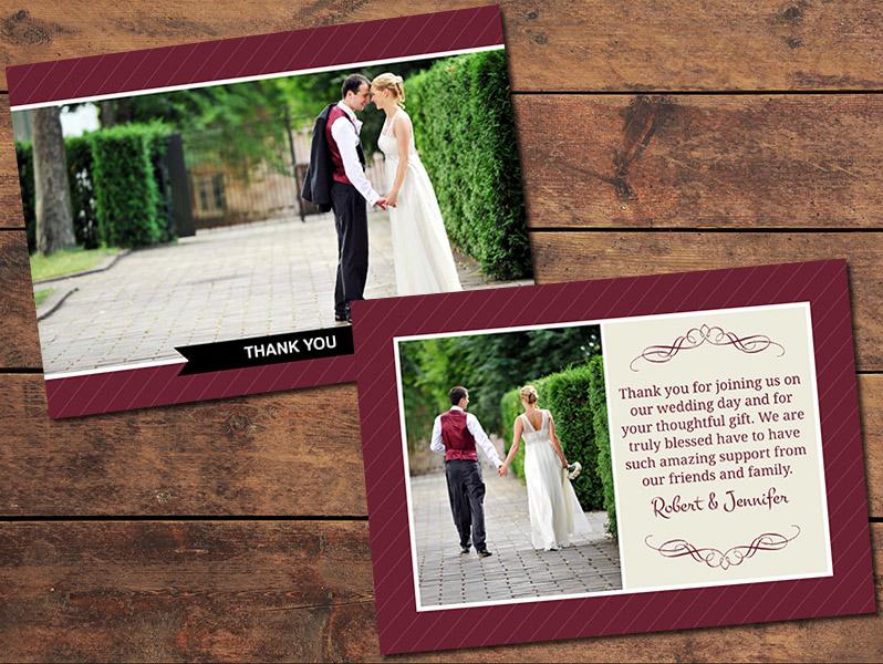 Burgandy Thank You Card Template
