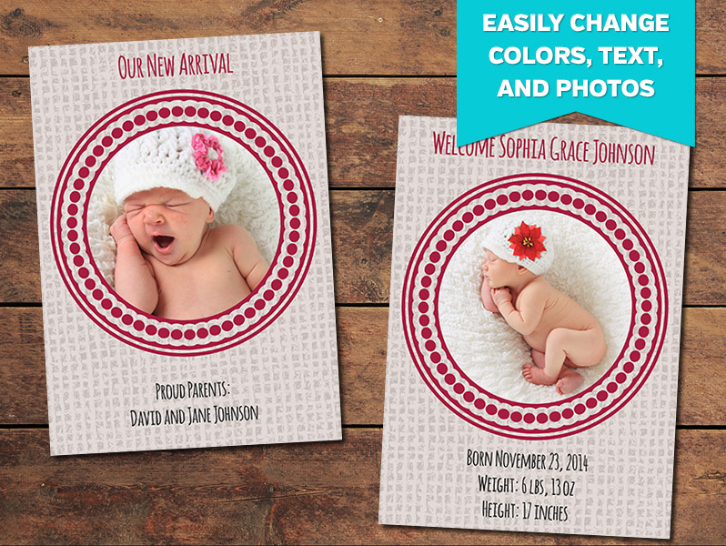Canvas Birth Announcement Card Template