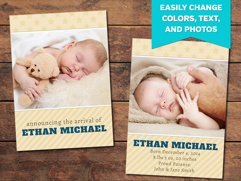Cherish Birth Announcement Card Template