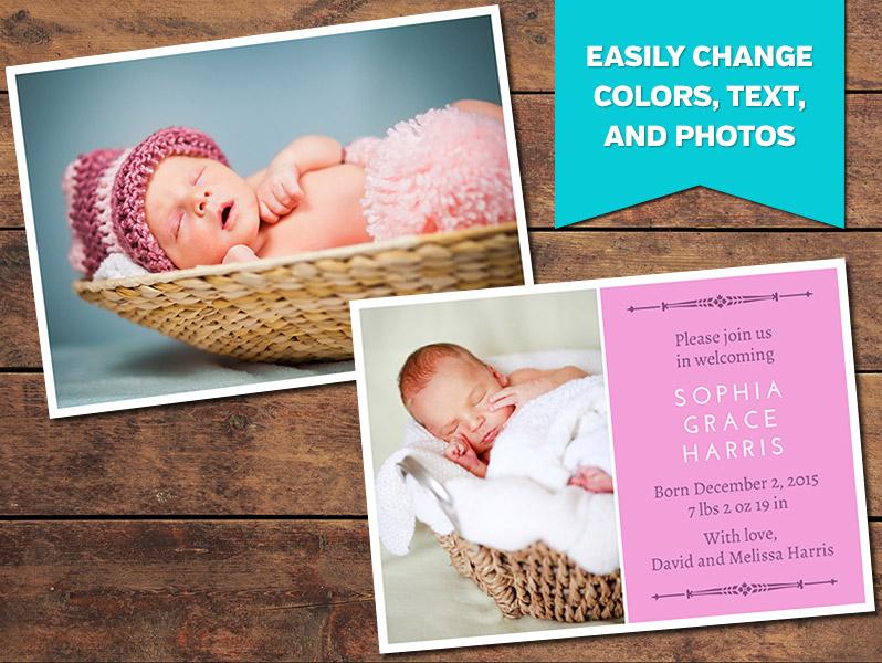 Clean Birth Announcement Card Template