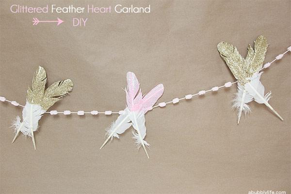 Glittered Feather Heart Garland
