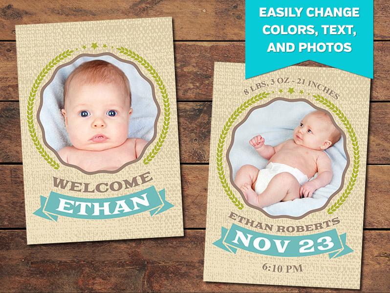 Embrace Birth Announcement Card Template