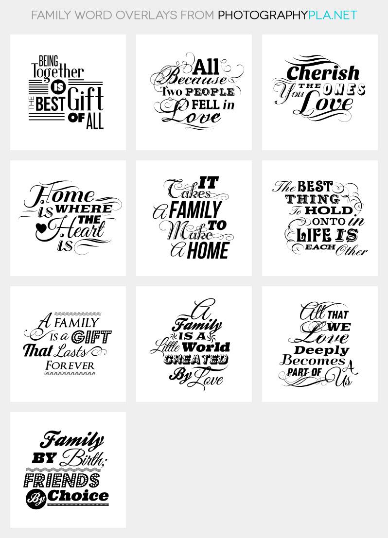Family Word Overlays