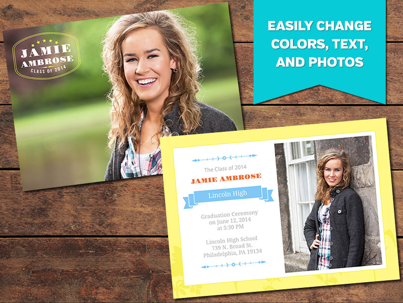 Lively Graduation Announcement Card Template - 5 x 7