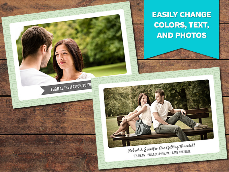 Minty Save-the-Date Card Template