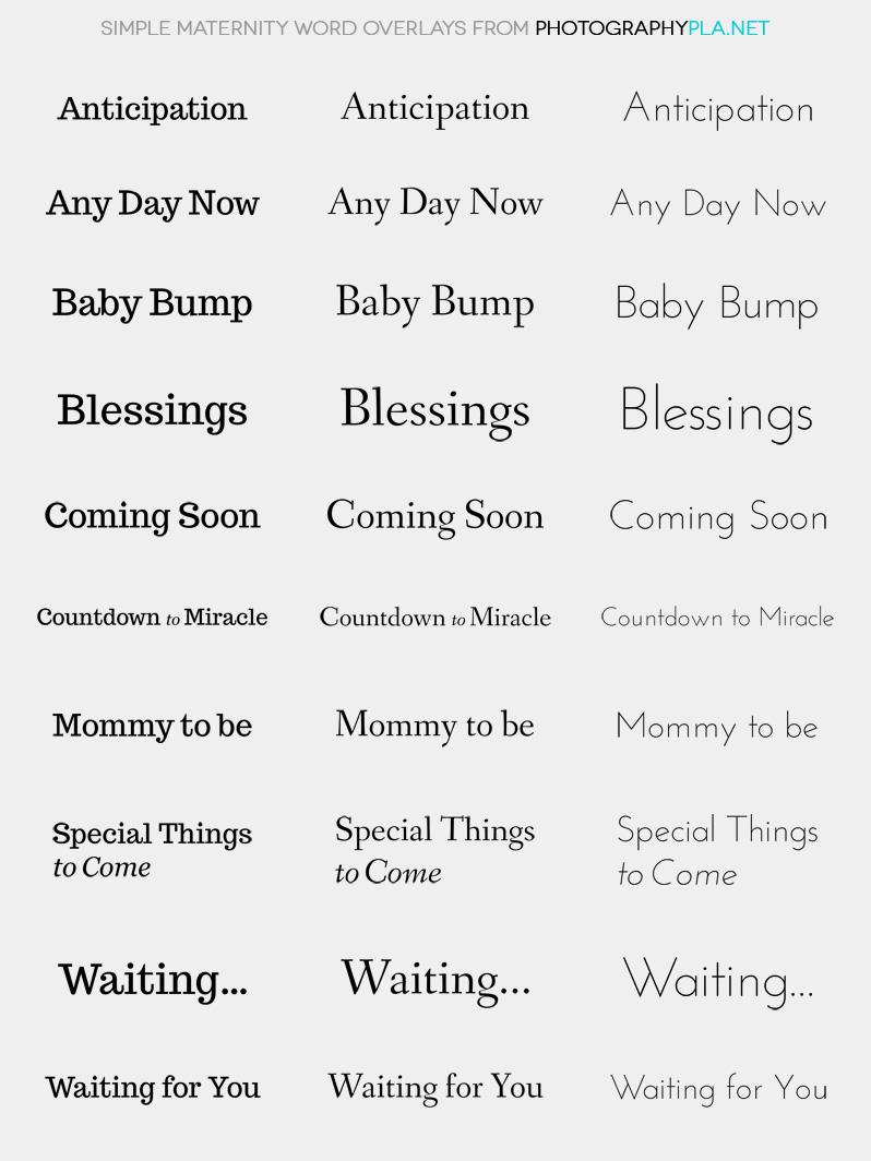 Simple Maternity Word Overlays