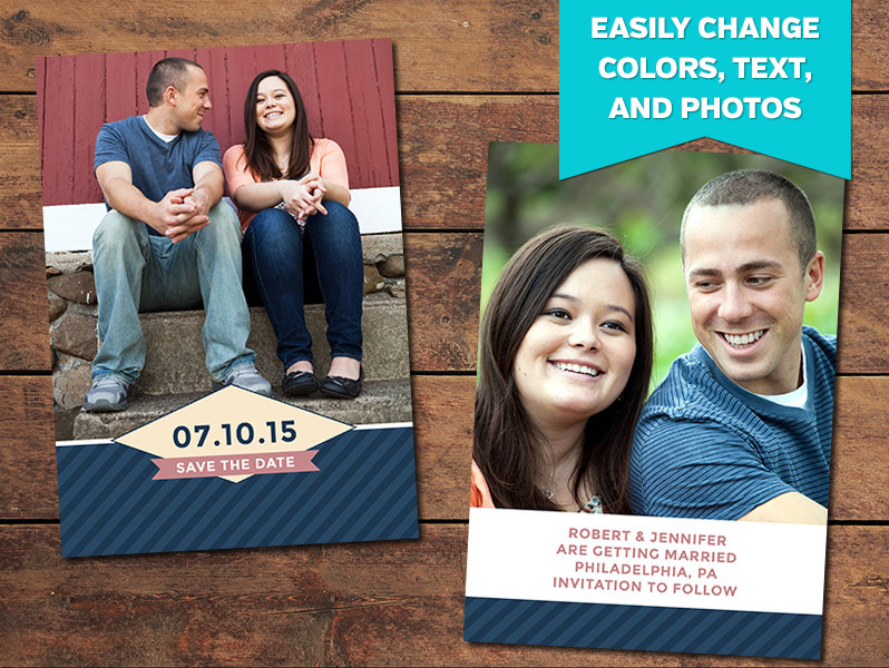 Stripey Save-the-Date Card Template