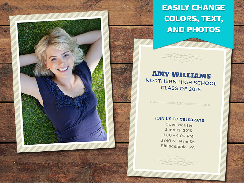 Tribute Graduation Announcement Card Template