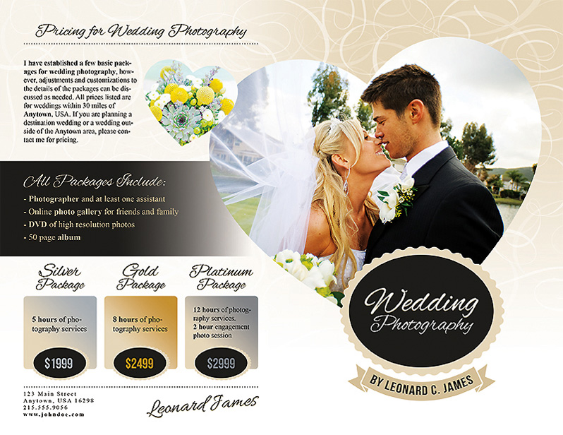 Wedding Photography Brochure Ideas: Wedding Photography Services Brochure