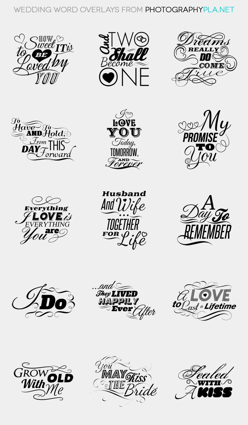 Wedding Word Overlays