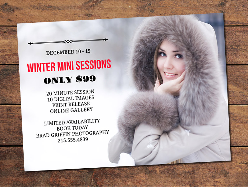 Winter Mini Session Card Template